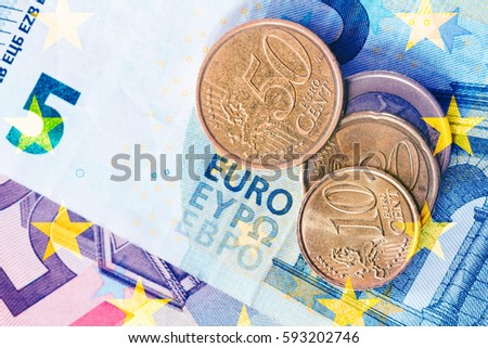 euro coins top view #593202746