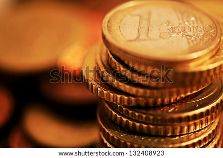 Euro coins. Very small depth of field.