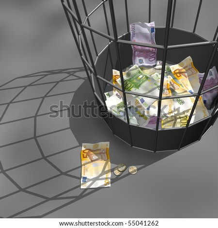 Euro crisis. (Bank-papers of euro in a trash basket)