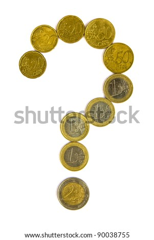 Euro crisis concept - question mark with euro coins isolated on white background