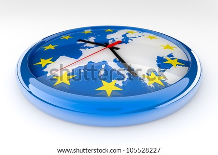 Euro crisis political concept . Clock with the center of the hands in Germany and the hands pointing to countries with problems:  Ireland, Spain, Portugal, Italy and Greece.