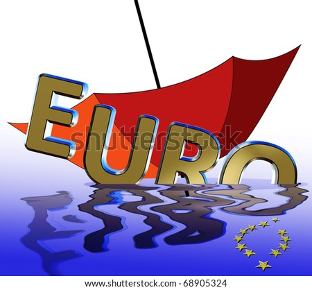 Euro crisis. Symbol for the current euro crises which affects the European Union and the financial markets worldwide.