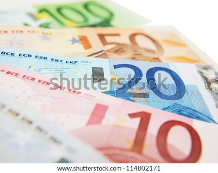 Euro currency bank notes, isolated towards white background