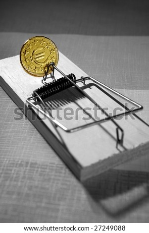 Euro currency business metaphor. Credit money is a mouse trap
