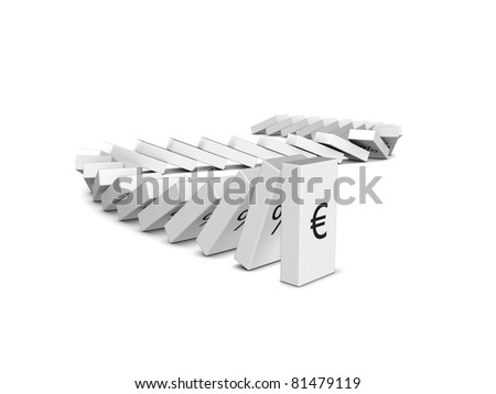 Euro currency crash. Domino effect. Isolated on the white background
