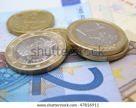 Euro currency (EUR) banknotes and coins