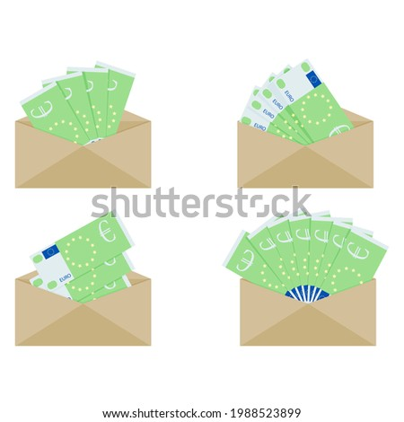 Euro currency in paper envelope, cash money wage salary, tax compensation, earnings and profit in cash, receive bribe or payout. illustration, euro cash banknote Stock photo ©