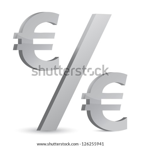 euro currency percentage symbol illustration design over a white background