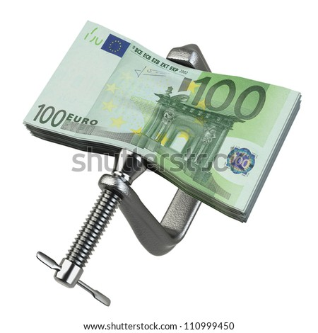 Euro currency problems being squeezed by a C clamp on white background