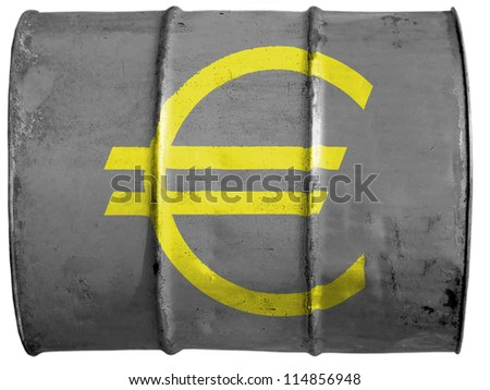 Euro currency sign painted on oil barrel
