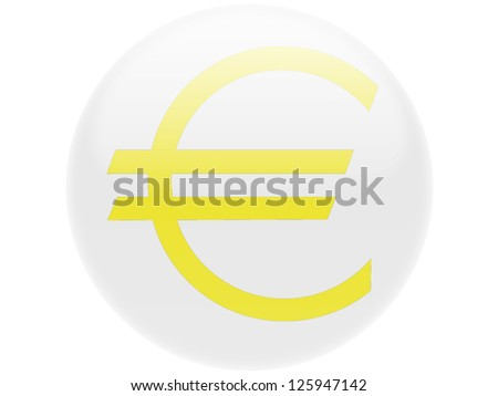 Euro currency sign painted on. Round glossy badge