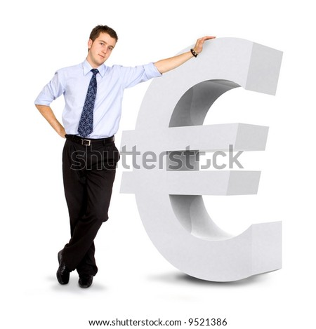 euro currency sign with a business man leaning on it - isolated over a white background