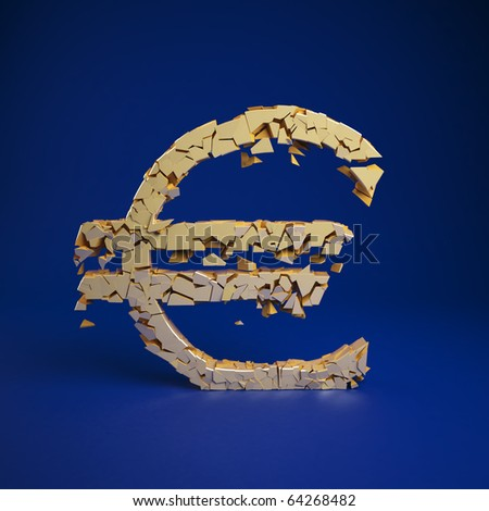 Euro currency symbol cramles into a pile of ruble