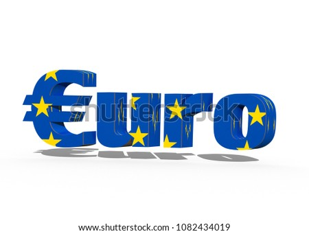 EURO, 3D-Text, 3D-Rendering with EU-Sign