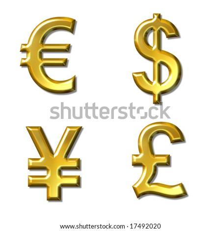 Euro Dollar Yen Pound Symbols With Gold Bevel 4 In 1 Ez Canvas