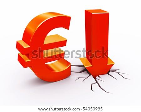 Euro down - stock photo