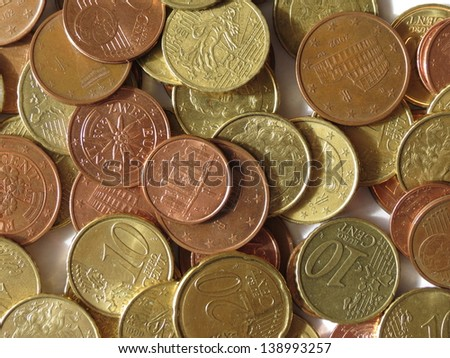 Euro (EUR) coins from various countries useful as a background