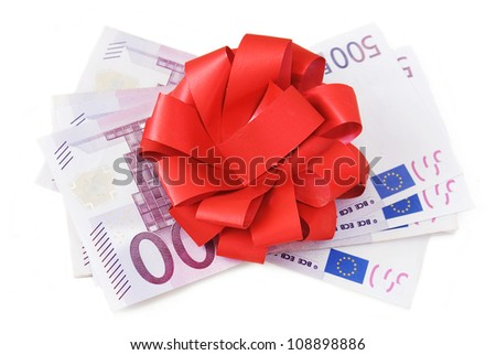 Euro gift (euro stack with red bow isolated on white background)