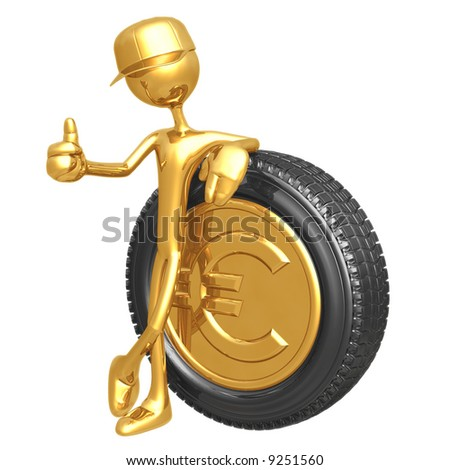 Euro Gold Coin Hubcap
