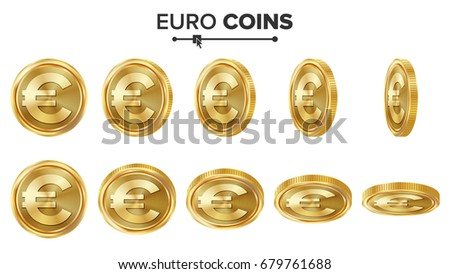 Euro Gold Coins Set. Realistic Illustration. Flip Different Angles. Money Front Side. Investment Concept. Finance Coin Icons, Sign, Success Banking Cash Symbol. Currency Isolated