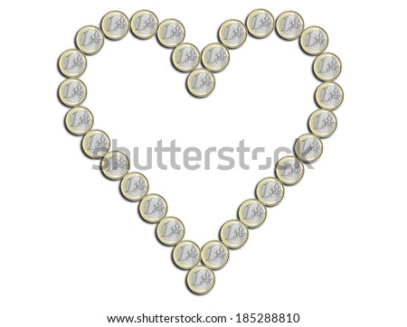 euro in the shape of heart on white background