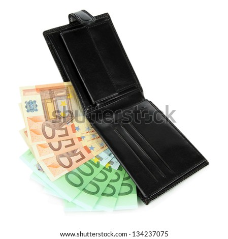 Euro in wallet isolated on white - stock photo