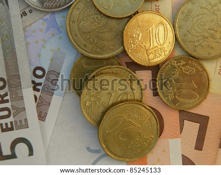 Euro (legal tender of the European Union) banknotes and coins