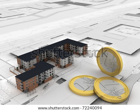 euro money and apartment building on technical drawings