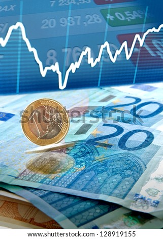 Euro money background with trade charts and stock stats
