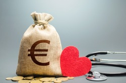 Euro money bag and stethoscope. Health life insurance and financing concept. Subsidies, investments. Funding healthcare system. Reforming and preparing for new challenges. Development, modernization.