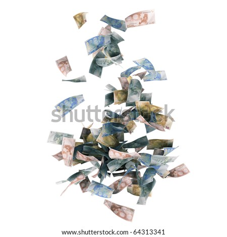 Euro money banknotes isolated on white