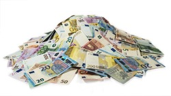 euro money banknotes, pile of money, cash, stack, new bills, isolated