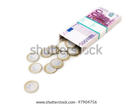 euro money box on white isolated background