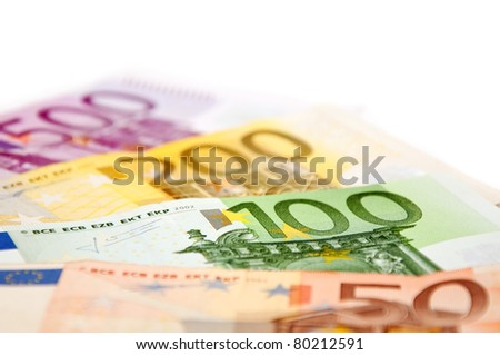 Euro money. European banknotes with shallow depth of field.