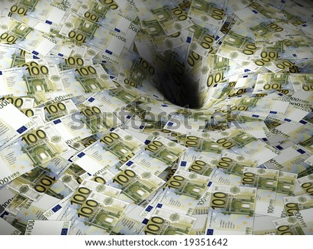 euro money flow in black hole - stock photo