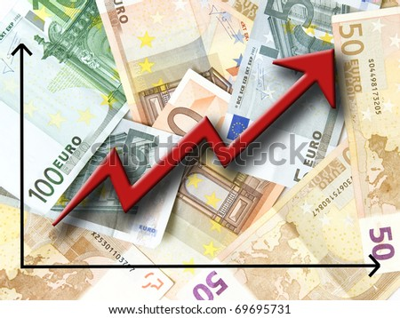 Euro money growth concept, against background made of Euro bills