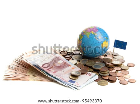 Euro money in coins and paper on a white background