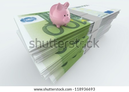 Euro Moneystack with piggy bank on top