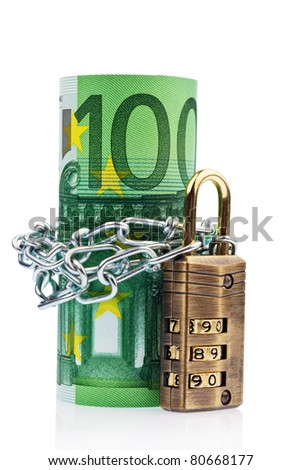 Euro notes with lock and chain on white background