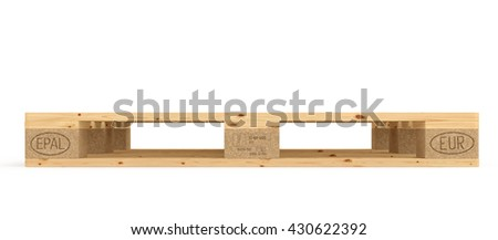 Euro pallet. Isolated on white background. Include clipping path. 3d render