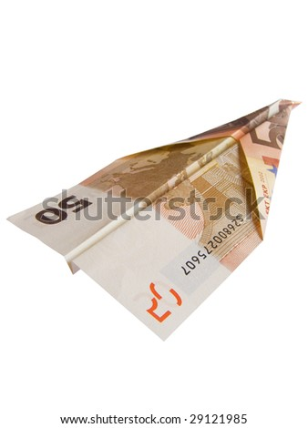 euro plane isolated on white background