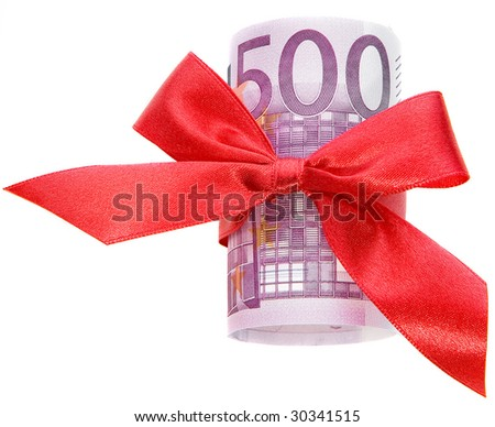euro roll gift with a red  bow close up isolated on white background