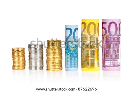 euro rolled bills, with coins like a diagram isolated on white background with clipping path