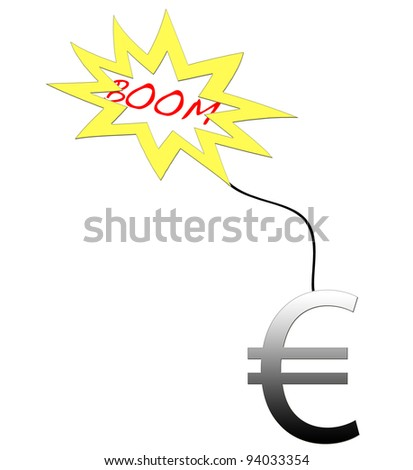 Euro shaped bomb about to explode.