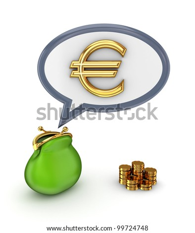 Euro sign and green purse.Isolated on white.3d rendered.