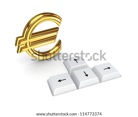 Euro sign and keyboard buttons.Isolated on white background.