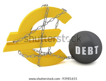 Euro sign connected in a chain of debt on a white  background