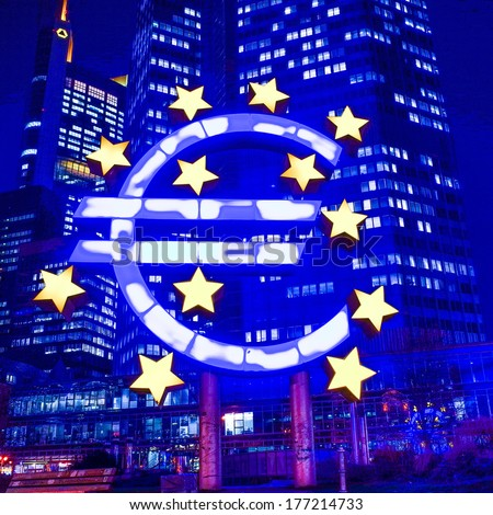 Euro Sign - February 12 : Euro Sign. European Central Bank (ECB) is the central bank for the euro and administers the monetary policy of the Eurozone. February 12, 2014 in Frankfurt, Germany.