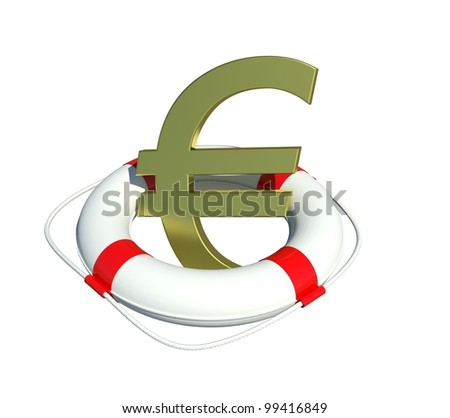 Euro sign in lifebuoy. Isolated on white background