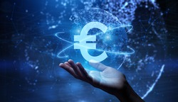Euro sign on virtual screen. Online banking currencies exchange financial concept.